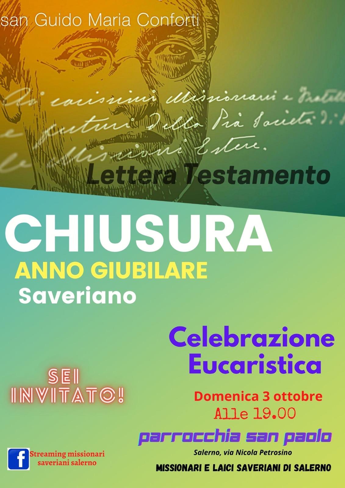 Chiusura anno giubilare missionari saveriani salerno